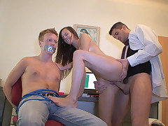 When you live together with your gf carrying some other chick's subjugation in your bag is most likely a bad idea, but this dude is either dumb or lazy to lurk them properly. That's how he finishes up getting ball-gagged and bound to a stool with his babe deep throating some stud's dick and getting pounded right on his knees. He even gets some scorching jism sprayed on his six pack when the dude gives her a horny facial. That's what we call a flawless cuckold punishment!