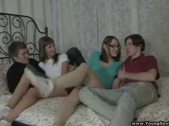 This teeny in glasses and her mind-blowing slutty girlfriend always desired to attempt smth perverted in sex like having some manhole gusto and sharing 2 cocks in a four-way. Today they eventually do it hooking up with a pair of horny guys to get banged in couch jointly and hold a chestiest perverted agonorgasmos contest. These teens have nothing but sex on their minds and it's so freakin' hot!
