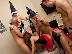 Halloween lovemaking soiree with naughty students