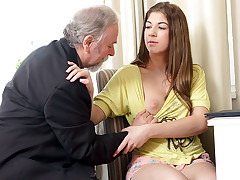 Rita's teacher is one naughty old man, so she lets him gobble her trimmed cunt as lengthy as he passes her in his class. She loves being fully bare as she closes her eyes and loves the old guy's skills!