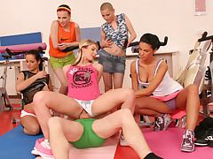 A fitness trainer gets sexually predominated by 5 cock-starved teenagers