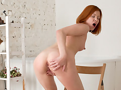 Gorgeous redhead Rimma gets all moist in the tub before she caresses her sheer pleasure button to reach sheer pleasure