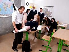 We don't know what's going on with the Czech public school system, but we need to adopt some of their experiences over here. When a student doesn't know the reaction to a question, they get out of it by screwing their teachers...in front of other students! Linda entices her teacher and deep throats his hard-on while her classmates witness on in amazement. She gets bitchy on a desk with no regard for the other people in the room. In fact, she's so into it that she blasts at 8:11, and keeps on splashing after that! Linda gets an A for fucking!