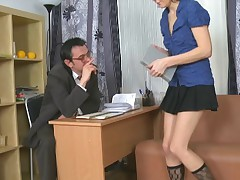 Youthfull coed seduced her teacher.