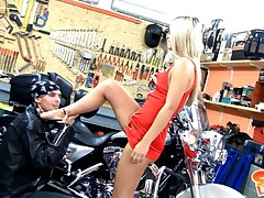 18yo Sabrina Ash-blonde getting pounded and facialized in the bike garage