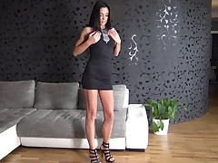 Magnificent stunner Alyssia massages her figure as she peels off out of her ebony sundress to plaything screw her raw puss