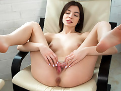 Russian ultra-cutie plays with her stiff knockers as she caresses her bean until she reaches ejaculation