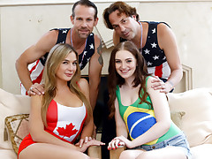 Naughty splendid and scorching bestfriends Blair and Maya interchange their daddy's to get their cunt pounded right on the spot while wearing some olympic clothes costumes.
