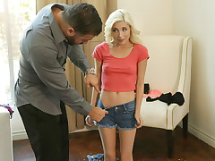 Piper Perri wants to wear a panty and brief cut-offs to school, as well as a t-shirt with no hooter-sling but her bf Chad White has other ideas. He tells Piper to put on some undergarments for his enjoyment so that she can witness how promiscuous she appears. Briefly Piper is pubes into one clothing after another so Chad can string up her small charms.