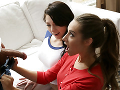 Cassidy Klein visits Megan Sage and Damon Dice to discuss the details of a school dance, but shortly the appeal inbetween Damon and Megan catches Cassidy's interest. She encourages them to commence kissing, and then doesn't hesitate to join in on the fun. Briefly Megan finds herself nude and anxiously getting her total hooters rubbed by Cassidy as she deep throats off Damon's dick.