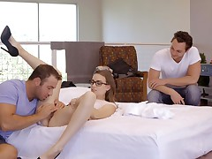 Joseline Kelly is getting dual teamed by Chad White and Brad Sterling when the 3 is caught by their teacher Tali Dova! Tali treats her discovery well, and shortly she permits herself to be seduced by Chad. Joseline isn't mischievous about observing Chad pull Tali's mini-skirt up and landing subjugation aside to touch her landing undress pussy, but when Tali invites Joseline to join them with Brad she determines she can get into it.
