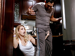 Fetching youthful ash-blonde lady Sierra Nicole gets her taut teenager snapper creampied by her stepdaddys monstrous former boyfriend meatstick while her mother is away.