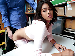 Tongues and mind-blowing shoplifter woman Kat Arina gets disciplined by an LP officer inwards his office by nailing her taut images highly firm after getting caught stealing some merchandise on a local store.