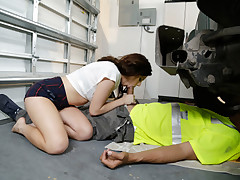 Tasty and diminutive teenage babe Karlie Brooks gets her puny taut snapper nailed in different hook-up postures by her dads mechanic mates elephantine sized harsh shaft.