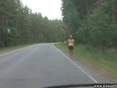 How did this blonde teenager hitchhiker end up all alone on a forest road waiting for someone to pick her up? Nobody knows for sure, but this stunner does acquire a ultra-kinky ride on a full stranger's guy meat when he shamelessly entices her in the woods, frigs her wet beaver and smallish her right on the ground. Doing it like a pair of lascivious blow-job with no ottoman or sheets makes her jism stiffer than ever before, notably when the guy just grabs her hair and copulates her from behind in doggie-style position.