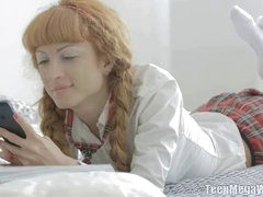 Lisa was chilling in her bed with a magazine and thought she'd spice up the day a little. She invited 2 buddies over, and everybody knew what was going on. See this sly, toned, fox get sandwiched between the 2 boys - and enjoy every of it. Her massive braids are perfect for pulling, and her face and ball-sac are perfect to cum on!