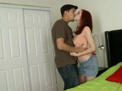 Redhead non-professional may be to porno but she sure knows her way around a brutha and takes it deep in her constricted clean-shaven vagina from behind