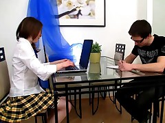 This nice legal age teen coed has been having a find out time dealing with her schoolwork so of course she hires a tutor. What she does not know is that guy has a very forearms on fashion such as his forearms on her breasts and toying with her pussy. That honey does not mind as that guy 1st sucks on her pointer sisters and then tastes her pussy. That honey is a voiced expert now and enjoys to showcase off how well she sucks weenie before having her love blushed bitchy by his voiced schlong. This chab trains her how to handle guy meat right up to the point when that guy plowings jism right in her mouth.
