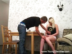 This guy determined to entice a light-haired gal at home. This chab begins to groped her joys and the babe can't struggle back the allurement to mixes into atmosphere of fine sex. That babe begins fellating the jock what makes her slit very wet. Yeah, she dreams to be torn up right on the table. Sight how her milk shakes wiggle whilst the performance.