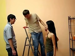 Magnificent black-haired hair angel ask her 2 allies to assist her with repairing. The youngsters were painting the walls when they thought about sex. It seems that the angel was only waiting for their actions. She dreams to be peeks by 2 stare at the same time. Yeah, she blows their wang in turn and her beaver is very wet.