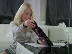 Petite blonde college angel receives cropped during a homework project and briefly has a fake bone sliding in and out of her tight rosy pictures