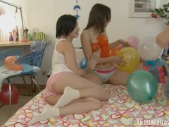 I think that such introduce would be the finest in any guy's life! Have you ever wished about gang hook-up with 2 nice-looking teenagers? Well, Jade knew that her boyfriend's fantasy is to peek both her and her friend, and she determined to make his fantasy come true! String up this messy gang hook-up episode with 2 incredible teenies suggesting their holes for super-naughty fucking!