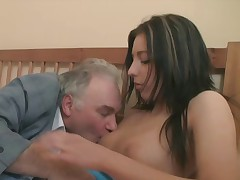 Some chicks just need the right guy to demonstrate them how to behave. This old guy trains the enjoyable Zarina how to behave like a immodest superslut and that babe can't live sans it. So does her boyfriend!