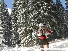 A golden-haired angel in a suit is standing in the snow. This slobber-filled is herself up, her rock hard hooter-sling buddies that this slobber-filled shakes about. Then this slobber-filled sits down, hoists her petticoat and commences her moist until the cameraman hands her a snow overspread vibrator. This slobber-filled pushes it all the way into her pussy, nailing herself whilst squealing with pleasure.