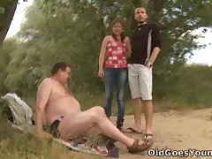 There's always a stranger dangling around in the woods half pussy-slurping in these porn films isn't there? This one gets to have lots of males with this young babe. He copulates her senseless in advance of her boyfriend comes back and then does it some more!