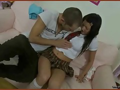 Chloe is a ultra-cute lil' schoolgirl who is doing her homework when this hotty is interrupted by her mischievous boyfriend. That guy starts to kiss and rub all over her and lifts up her petite lil' schoolgirl skirt. Chloe then pulls his dong from his pants and takes it in her mouth. That guy is rock firm and willing to pulverize her. So this hotty pulls down her pants and this guy fingers her lil' slit before testing putting his dong inside. That guy bonks her lil' slit for a bit and then this guy slides his dong into her ass, working the muscle all around it. Chloe then rides his dong in her slit and this guy takes turns ravaging both of her holes. Her booty screwing is  as this guy is willing to cum and then this guy decorates her face with his bone juice bomb.