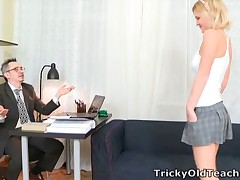 When Shelly spends a lil' additional time with her teacher she briefly realises what a tricky old bastard he truly is! It's not lengthy before he's got his prick out and she's stripping off for a cute glimpse