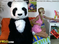 This infatuating Legitimate age teenager lady and her panda bear sure have much gusto together! They listen to the music, sing along and dance. But why not doing something than just dance? So the platinum-blonde takes off naked, toying with a ample dildo. This makes the panda bear lustful as hell, and luckily, this chab has something to his fine friend's lust! A ample impaler is ready to pierce the girl's hole, to make her about everything and mixes up into bawdy gusto fucking. This incredible teenporn gig is sure ...