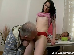 This messy old bastard of course knows how to coerce a juvenile hotty like Olga into his man rod and letting him tart's her; you've got to hand it to him