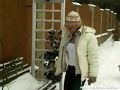 Our abate simply cannot get sufficiently of this wintry weather. Our Sharon for instance was up at dawn to fly down the steep slopes of the hills on her ski's. Well, that was the original idea at least. But something got in the way: Her sexually pussy!