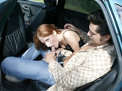 Kinky nail for crimson haired teenage in the open car