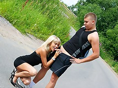 Pick up blond woman posing and screwing on road